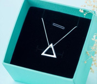 colar geométrica de prata venda por atacado-Real. 925 Sterling Silver Jewelry Open Triângulo Pingentes / colar Geométrica Jóias Sterling-prata-jóias Gtlx665 J190709