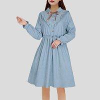 ingrosso vestito lungo dal manicotto giapponese-Stile giapponese Mori Girl Small Fresh Ruffles Risvolto abito manica lunga 2018 Primavera Autunno Nuove donne Kawaii Lolita Dress Y19053001
