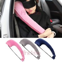 Wholesale auto travel accessories for sale - Group buy P shape Travel Air Flight Inflatable Car Headrest Hold Pillow Head Neck Surport Confort Pouch Hold Pillow Pink Auto Accessory