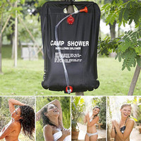 Wholesale solar water bag shower for sale - Group buy 20L Camp Shower Water Bag Foldable Solar Energy Heated Shower Camping Bag PVC for Camping Outdoor Hiking Travel