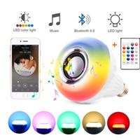 rohs led e27 toptan satış-E27 Akıllı RGB RGBW Kablosuz Bluetooth Hoparlör Ampul 110 V 220 V 12 W LED Lamba Işık Müzik Çalar Dim Ses 24 Tuşları Uzaktan Kumanda