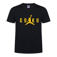 подарки армейской новинки оптовых-Dragon Ball Z дизайнерская мужская футболка GOKU Jump прикольная футболка harajuku рок хип-хоп скейтборд уличная одежда