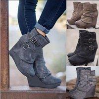 calçado para neve venda por atacado-Botas mujer 2018 novas mulheres botas de neve outono inverno mulher cunha fundo grosso sapatos casuais saltos com zíper martin botas de tornozelo y215fast