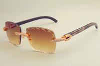 Wholesale sun visors sunglasses resale online - 2019 new engraving lens sunglasses fashion large diamond sun visor pure natural black pattern horns mirror legs sunglasses