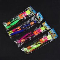Wholesale rubber helicopters resale online - LED Magic Toy Rubber Band Helicopter Flash Arrows Flying Umbrella Flash Mushrooms Luminous ejection C1435