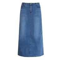 jeans saia jeans para mulheres venda por atacado-O Envio gratuito de 2017 Nova Moda Elástico de Cintura Alta Longo De Uma Linha S Para 2XL Plus Size Jeans Jeans Primavera E Verão Estilo Mulheres Saia