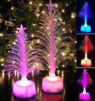 Wholesale fiber optics trees resale online - Colored Fiber Optic LED Light up Mini Christmas Tree with Top Star Battery Powered J2Y