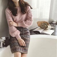 saia de lã coreana venda por atacado-Mulheres de inverno coreano bordado camisola de tricô + duas peças Tweed lã 2 peças conjunto de impressão geométrica saia