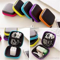 sabit kablo kulaklıkları toptan satış-5 Renk Kulaklıklar Kulaklık Kablo Kulaklık Saklama Kutusu Hard Case Kese Taşıma çantası SD Kart kutusu 2019040101 Tutun