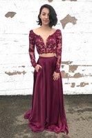 chiffon- partei-abschlussballkleid-abendkleid großhandel-Formale Abendkleider Zweiteilige Abendkleider 2019 Plunge A Line Langarm Abend Party tragen Kleider Top Lace Günstige Arabisch Kleid B37
