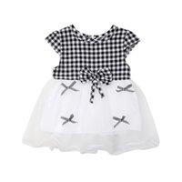 neugeborene mädchen brautkleider großhandel-Reizendes neugeborenes Baby scherzt Mädchen-Sommer-Hochzeitsfest-Kleid-Plaid-Bogen-Spitze-Kleider 0-24M