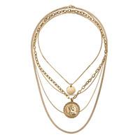 многокольцевые ожерелья оптовых-Оптовая новый дизайн Multi слои металла человеческой головы колье ожерелье золотая монета круг кулон ожерелье старинные цепи ожерелье
