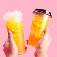 tek kullanımlık bardak toptan satış-700 ml 24 oz Tek Kullanımlık Plastik Bardak Soğuk Sıcak İçecekler Suyu Kahve Sütlü Çay Bardağı Kalınlaşmak Şeffaf İçecek Aracı Kapaklı 0 45gn YY