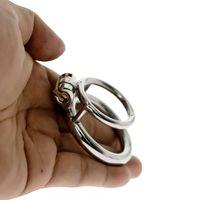 doppelring keuschheit großhandel-Keuschheitstraining Ring Verriegelung Doppel Cock Ring Edelstahl Ball Stretch Ring Penis Übung Hodensack Ball Stretcher SH190727