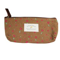 хорошее хранение макияжа оптовых-Fashion Makeup Storage Bag Rural Style Floral Pencil Pen Case Cosmetic Bag Good Quality Travel Storage Zipper