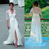 cordões inteiramente rendilhados venda por atacado-País V-neck A linha de vestidos de noiva com mangas meia faixa Totalmente Lace dividida em camadas Vestidos de noiva
