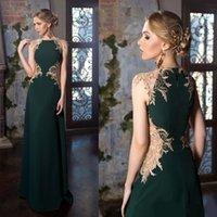 koyu renkli mücevher toptan satış-Koyu Yeşil Anne Gelin Elbiseler Aplike Dantel Kolsuz Kadın Balo Abiye Jewel Boyun Uzun anneler Elbiseler