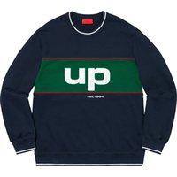 kadınlar için büyük sweatshirtler toptan satış-19FW KUTUSU Büyük Logo Boru Crewneck Sweatshirt Erkekler Kadınlar Çift Kazak Dikişli Renk Eşleştirme Triko Sokak Dış Giyim Casual HFHLWY107