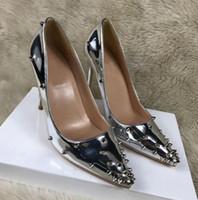 Wholesale ladies beautiful pumps resale online - Newest pointed toe rivet shoes women wedding bride high heels rivet decoration beautiful sexy pumps ladies heels