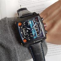 часы хронограф механическая кожа оптовых-2019 Известный Luxury Fashion Brand Часы Все Subdials Рабочий Хронограф Роскошные Часы Мужские Часы Лучший Бренд Кожаный Ремешок Механические часы