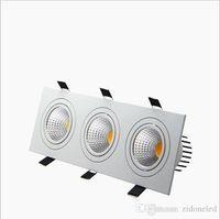 ingrosso cob led dimmerabile da incasso downlight-Incasso quadrato LED dimmerabili incasso 3 testa ha portato giù le luci COB 15W / 21W / 30W / 36W Spotlight soffitto Lampade puck lampada AC85-265V LED