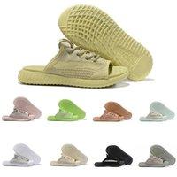 erkekler için mavi sandaletler toptan satış-2019 Lüks Tasarımcı Erkek Slaytlar Kanye West Büyümek GID Antlia Kil Mavi Tonu Siyah Beyaz Statik Terlik Peep Toe Erkek Kadın Sandalet Boyutu 5-11