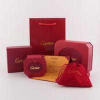 mode leder ohrringe großhandel-Marke Halskette Box Luxus Ohrringe Beutel Mode Armband Box Brief Rot Lackleder Logo Schmuck Verpackung