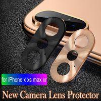 câmeras de guarda venda por atacado-Câmera de luxo Guarda Círculo Telefone Inteligente de Metal Câmera Traseira Lens Protector Case Capa Anel Bumper para iphone X / XR / XS / XS Max