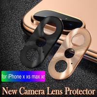 kameralı telefon kapağı toptan satış-Lüks Kamera Guard Daire Akıllı Telefon Metal Arka Kamera Lens Koruyucu Kılıf Kapak Halka Tampon için iphone X / XR / XS / XS Max
