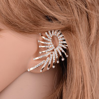 Wholesale gold statement fashion cuffs for sale - Group buy Women Fashion Statement Punk Jewelry Gold color Full Rhinestone Crystal Vintage Leaf Ear Cuff Clip Earrings