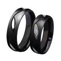 design de anel casal negro venda por atacado-Anéis de pureza de design de moda, elegante titanium aço cristal preto casal anel presente do dia dos namorados para mulheres homens