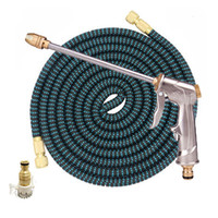 Wholesale expandable hose 75ft gun for sale - Group buy 25FT FT Garden Hose With Metal Long Lances Water Gun Drip Irrigation Expandable Magic Flexible Watering Hoses Plastic Pipe