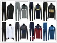 спортивные костюмы высокого качества оптовых-2019 2020 Реал Мадрид Ajax Bayern футбольный пиджак спортивный костюм длинные брюки пиджаки 19 20 MBAPPE HAZARD высокое качество Полный комплект молния пиджак