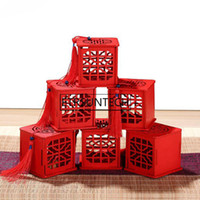 çinli geleneksel kutular toptan satış-Vintage Çay Caddy Çay Yaprakları Konteyner Geleneksel Çin Tarzı Püskül Ahşap Çay Kutusu Ile Hediye Kutusu Oymak ZC0365
