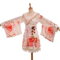 weißes kimonokostüm großhandel-Mädchen-Weinlese-japanischer Art-Kimono-Blumendruck-Kleid-Aufflackern-Hülsen-Kostüm weiß / Rot / Schwarzer schneller Versand