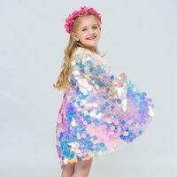 bonitos trajes de sereia venda por atacado-2019 Novo estilo do bebê menina sereia Cloak colorido glitter princesa bonito Capa Boutique Costume cosplay adereços