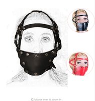 головной убор для рта оптовых-BDSM кожа головы жгут маска, жесткий мяч рот засорение, внешние привязки обязательные аксессуары, Вселенная играть секс-игрушки для взрослых