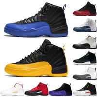 Wholesale french blue 12 for sale - Group buy jumpman s Men Basketball Shoes Trainers Reverse Taxi Black Dark Grey Concord flu game french blue Mens Sports Sneaker Size