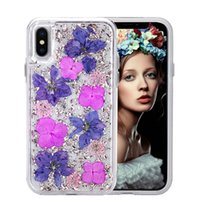 Wholesale iphone blue flowers case for sale - Luxury Karat Petals Transparent Case For iPhone X XS Max Plus Hybrid Ditsy flowers phone cases for Samsung Note8 S9