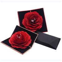 ingrosso scatola dell'anello del fiore di rose-Scatola portagioie fiore rosa rossa Scatola portagioie regalo giarrettiera di lusso Scatola portaconfetti anello decorativo portagioie regalo di San Valentino