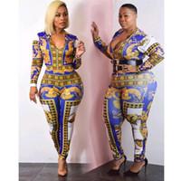 ingrosso modelli di tuta per le donne-GuyuEra African Riches Dress For Women Caratteristiche Modello Pantaloni donna Tuta con scollo a V Taglie grandi