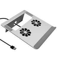 notebook aluminium kühlung stand großhandel-Besegad Tragbarer Laptopständer Aluminiumlegierung Tablet Unterstützung Ständer Halterung Halter Riser mit Lüfter für Macbook Mac Notebook