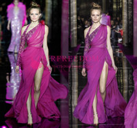 Wholesale zuhair murad black prom dresses resale online - 2020 Vintage Zuhair Murad Fuchsia Chiffon Celebrity Dresses One Shoulder Sexy Side Split Sheath Formal Evening Occasion Prom Dresses Custom