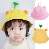 chapéu do balde do inverno das meninas venda por atacado-Bebê Recém-nascido Meninas Crianças Princesa Infantil Inverno Quente Cap Sun Cotton Bucket Hat