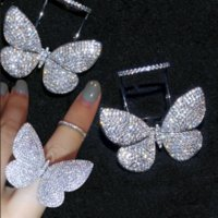 Wholesale 925 butterfly rings resale online - Choucong Sparkling Luxury Jewelry Internet celebrity Sterling Silver Pave Full White Sapphire CZ Diamond Butterfly wings Women Ring Gift