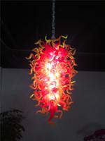 ingrosso lampadario di vetro giallo-Lampadario di cristallo a mano rosso e giallo Lampadario di cristallo a mano moderno Lampadario a LED in vetro soffiato a mano per la decorazione della nuova casa