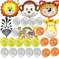 ingrosso zoo animali per bambini-Baby shower safari party / birday balloons Palloncino in lattice / foil decorazioni per feste di compleanno per bambini / adulti Safari Jungle Zoo Enorme testa di animale Palloncino
