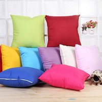 Wholesale knitted white cushion covers resale online - Newest Home Sofa Throw Pillowcase Pure Color Polyester White Pillow Cover Cushion Cover Pillow Case Blank christmas Decor Gift IB272e
