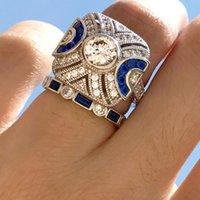 ingrosso cluster blu-anelli di fidanzamento topaz gioielli anelli topazio blu naturale anelli di fidanzamento per le donne moda calda
