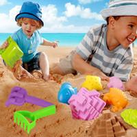Wholesale plastic beach shovels resale online - 6Pcs setBaby Classic Plastic Play Sand Buckets Rakes Shovels Trucks Car Soft Beach Toys Set Children Garden Summer Seaside Toy For Kids